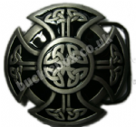 CELTIC CROSS (BLACK) Belt Buckle + display stand. Product code: LC3